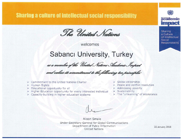 Sabancı University is now a member of the United Nations